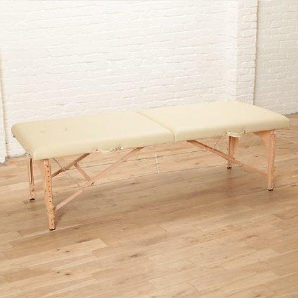 画像1: 軽量折りたたみエステベッド (木製・有孔) バニラ 長さ185×幅70×高さ51-83cm (1)